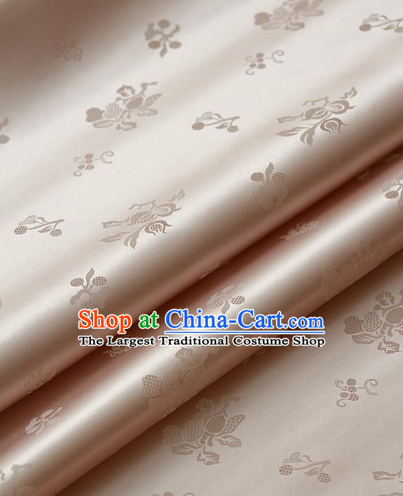 Traditional Asian Champagne Satin Classical Pattern Drapery Korean Hanbok Palace Brocade Silk Fabric