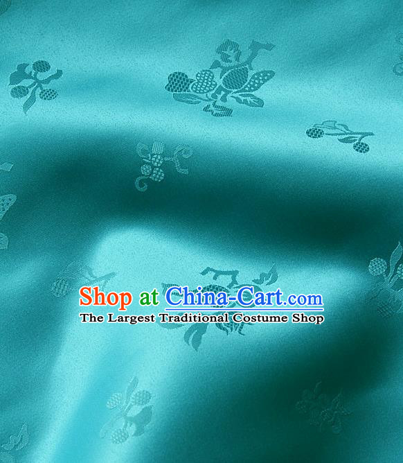Traditional Asian Lake Blue Satin Classical Pattern Drapery Korean Hanbok Palace Brocade Silk Fabric
