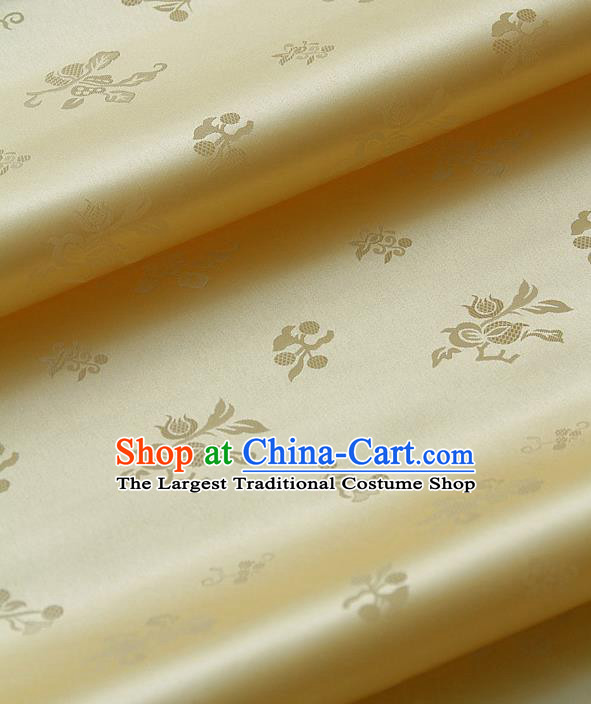 Traditional Asian Yellow Satin Classical Pattern Drapery Korean Hanbok Palace Brocade Silk Fabric