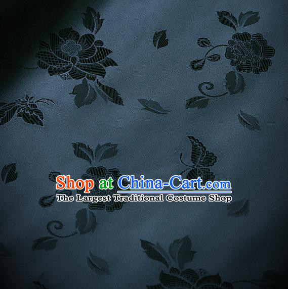 Traditional Asian Navy Brocade Classical Peony Pattern Drapery Korean Hanbok Palace Satin Silk Fabric