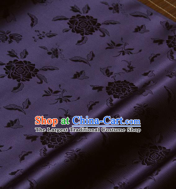 Traditional Asian Purple Brocade Classical Peony Pattern Drapery Korean Hanbok Palace Satin Silk Fabric