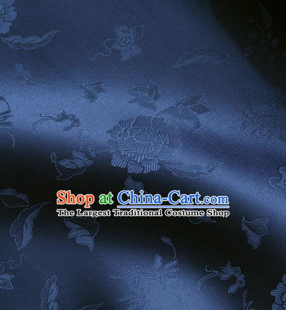 Traditional Asian Deep Blue Brocade Classical Peony Pattern Drapery Korean Hanbok Palace Satin Silk Fabric