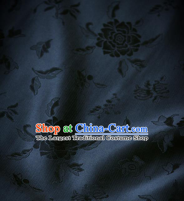 Traditional Asian Black Brocade Classical Peony Pattern Drapery Korean Hanbok Palace Satin Silk Fabric
