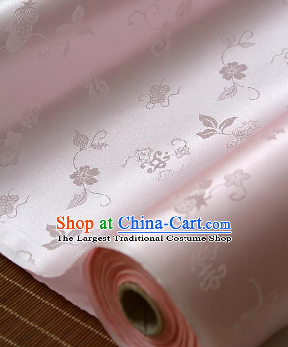 Traditional Asian Pink Brocade Classical Cucurbit Pattern Drapery Korean Hanbok Palace Satin Silk Fabric