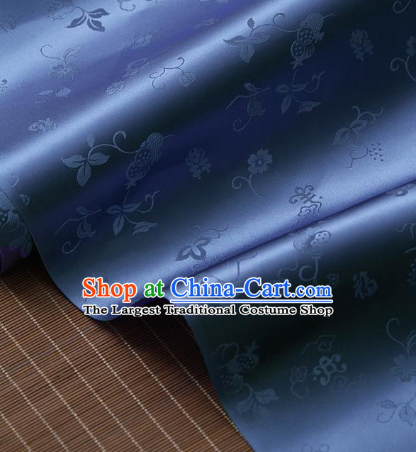 Traditional Asian Blue Brocade Classical Cucurbit Pattern Drapery Korean Hanbok Palace Satin Silk Fabric