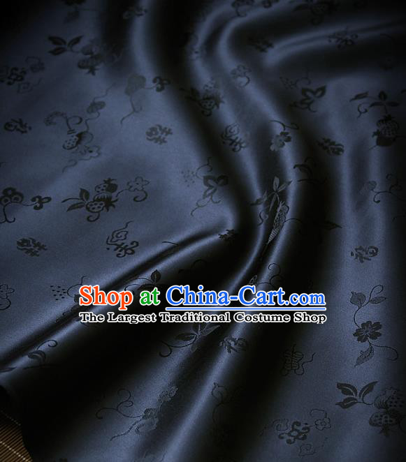 Traditional Asian Navy Blue Brocade Classical Cucurbit Pattern Drapery Korean Hanbok Palace Satin Silk Fabric