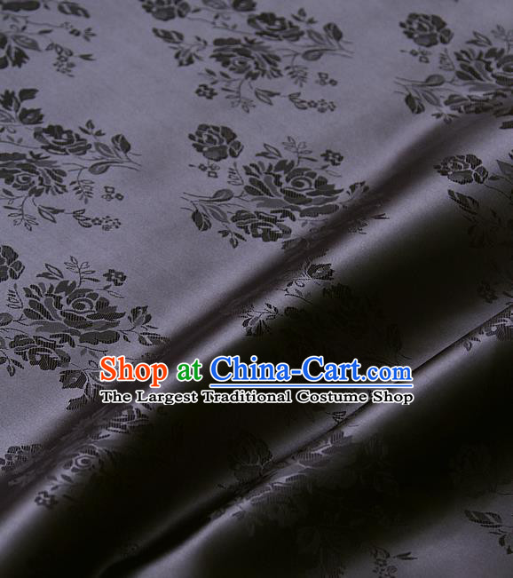 Traditional Asian Deep Grey Brocade Classical Cucurbit Pattern Drapery Korean Hanbok Palace Satin Silk Fabric