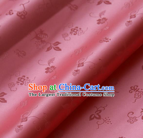 Traditional Asian Peach Pink Brocade Classical Cucurbit Pattern Drapery Korean Hanbok Palace Satin Silk Fabric