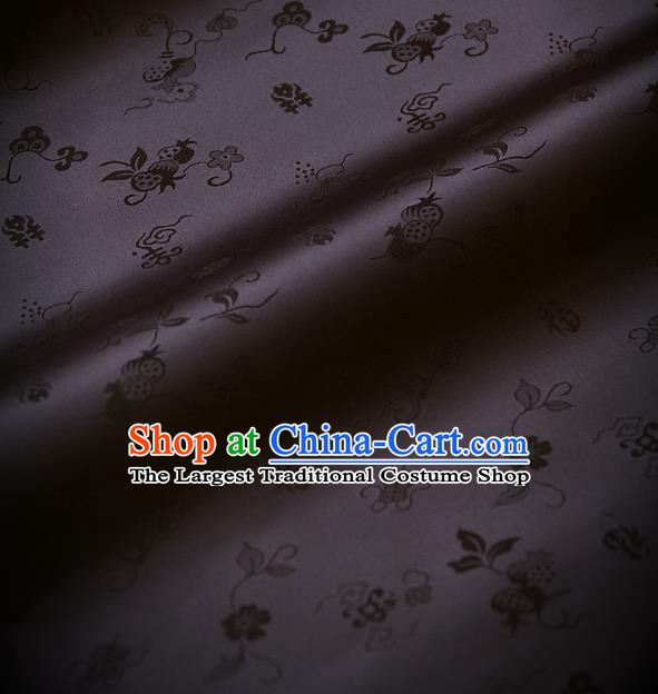 Traditional Asian Black Brocade Classical Cucurbit Pattern Drapery Korean Hanbok Palace Satin Silk Fabric