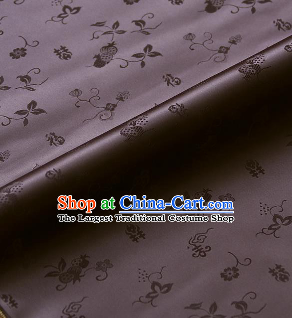 Traditional Asian Brown Brocade Classical Cucurbit Pattern Drapery Korean Hanbok Palace Satin Silk Fabric