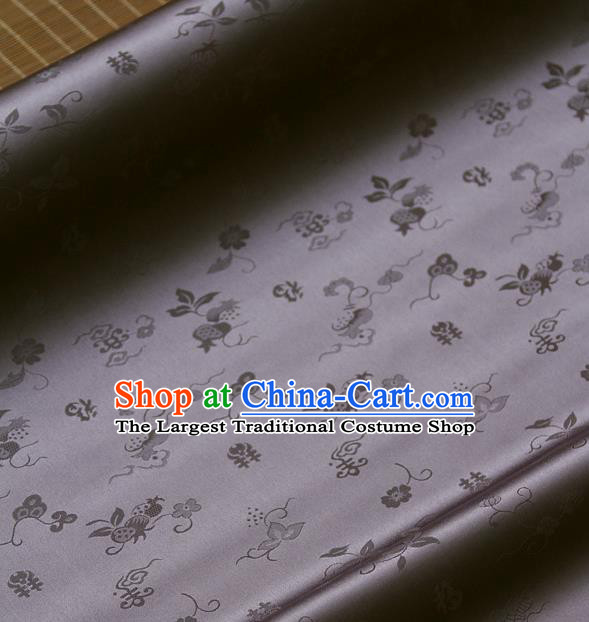 Traditional Asian Grey Brocade Classical Cucurbit Pattern Drapery Korean Hanbok Palace Satin Silk Fabric