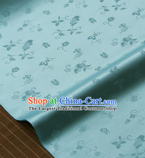Traditional Asian Light Blue Brocade Classical Cucurbit Pattern Drapery Korean Hanbok Palace Satin Silk Fabric