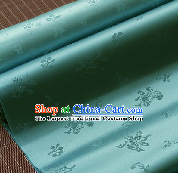 Traditional Asian Lake Blue Brocade Classical Cucurbit Pattern Drapery Korean Hanbok Palace Satin Silk Fabric