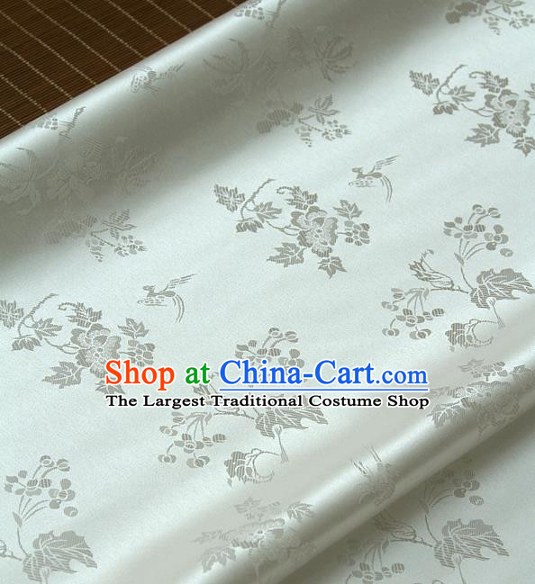 Traditional Asian Classical Grape Pattern White Brocade Drapery Korean Hanbok Palace Satin Silk Fabric