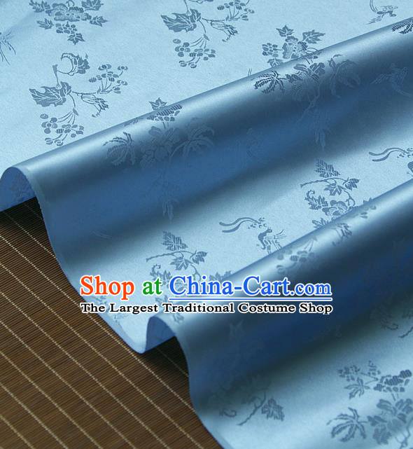 Traditional Asian Classical Grape Pattern Light Blue Brocade Drapery Korean Hanbok Palace Satin Silk Fabric
