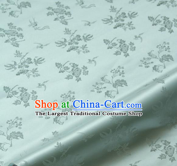 Traditional Asian Classical Grape Pattern Light Green Brocade Drapery Korean Hanbok Palace Satin Silk Fabric