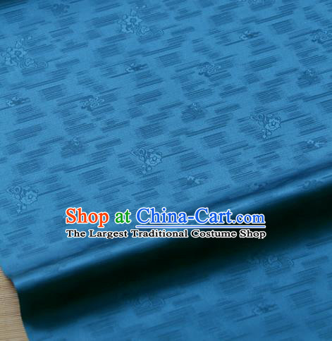 Traditional Asian Classical Roses Pattern Blue Brocade Drapery Korean Hanbok Palace Satin Silk Fabric