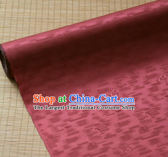 Traditional Asian Classical Roses Pattern Purplish Red Brocade Drapery Korean Hanbok Palace Satin Silk Fabric