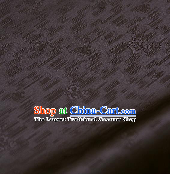 Traditional Asian Classical Roses Pattern Brown Brocade Drapery Korean Hanbok Palace Satin Silk Fabric