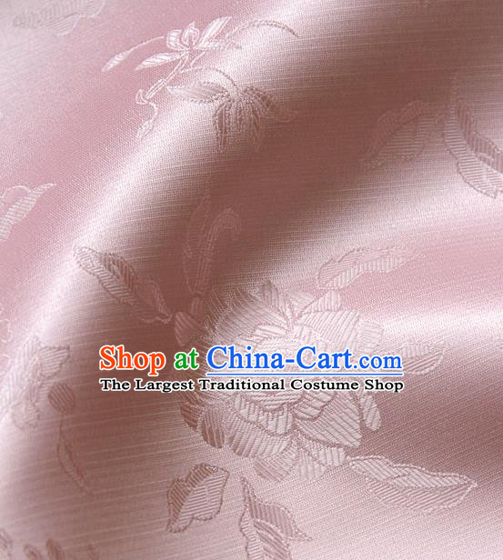 Asian Traditional Classical Pattern Pink Satin Drapery Korean Hanbok Palace Brocade Silk Fabric