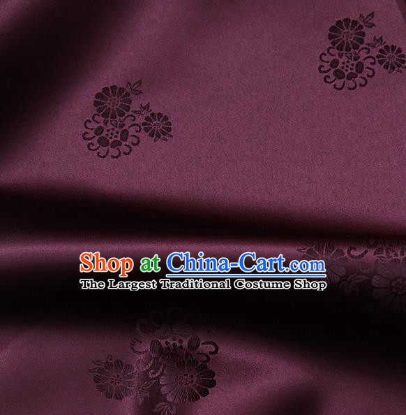 Asian Traditional Classical Pattern Wine Red Satin Drapery Korean Hanbok Palace Brocade Silk Fabric