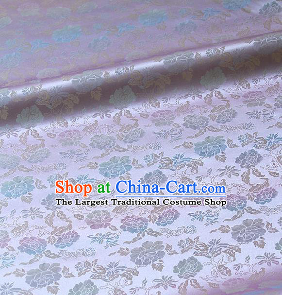 Traditional Asian Classical Peony Pattern Lilac Brocade Drapery Korean Hanbok Palace Satin Silk Fabric