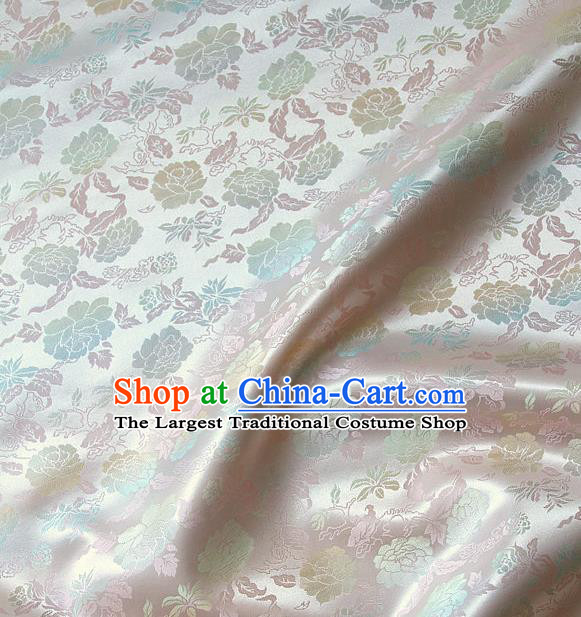 Traditional Asian Classical Peony Pattern Pink Brocade Drapery Korean Hanbok Palace Satin Silk Fabric