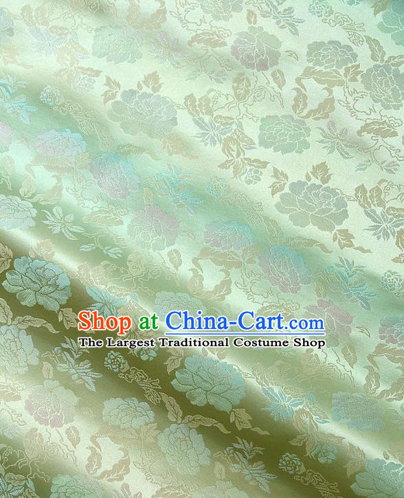 Traditional Asian Classical Peony Pattern Green Brocade Drapery Korean Hanbok Palace Satin Silk Fabric