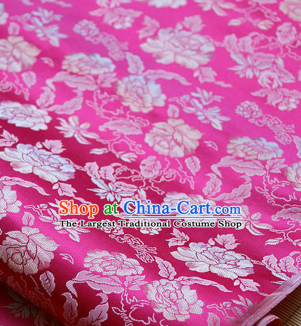 Traditional Asian Classical Peony Pattern Amaranth Brocade Drapery Korean Hanbok Palace Satin Silk Fabric