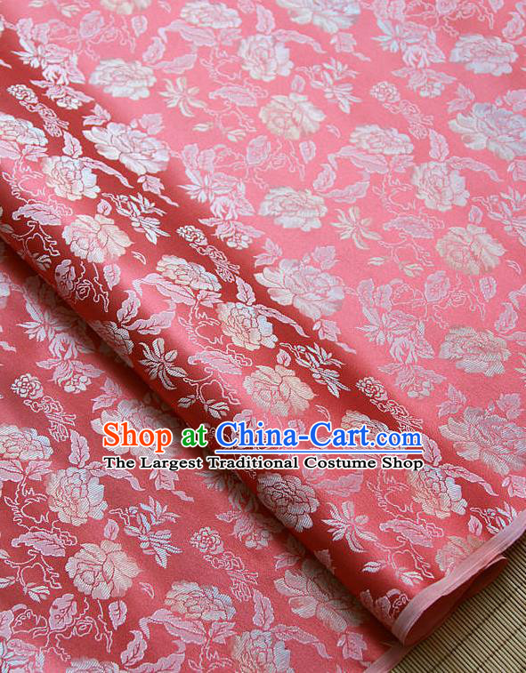 Traditional Asian Classical Peony Pattern Red Brocade Drapery Korean Hanbok Palace Satin Silk Fabric