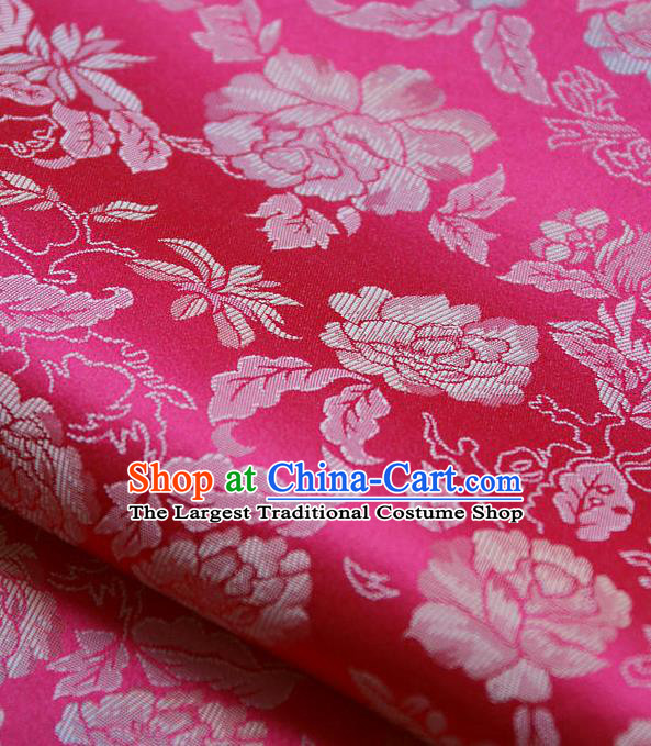 Traditional Asian Classical Peony Pattern Rosy Brocade Drapery Korean Hanbok Palace Satin Silk Fabric
