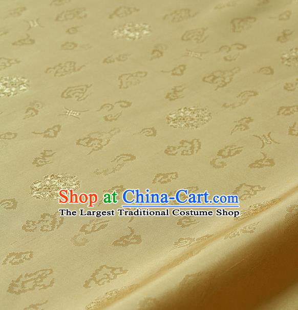 Traditional Asian Golden Brocade Drapery Korean Hanbok Palace Satin Silk Fabric
