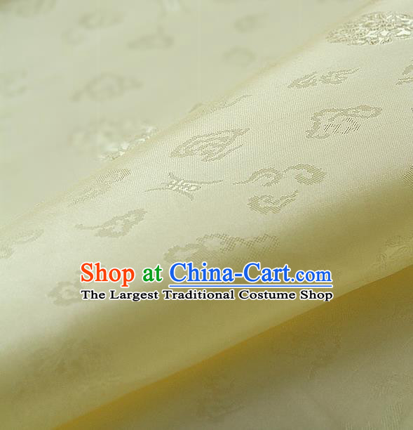 Traditional Asian Yellow Brocade Drapery Korean Hanbok Palace Satin Silk Fabric