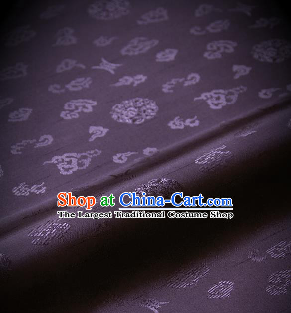 Traditional Asian Purple Brocade Drapery Korean Hanbok Palace Satin Silk Fabric