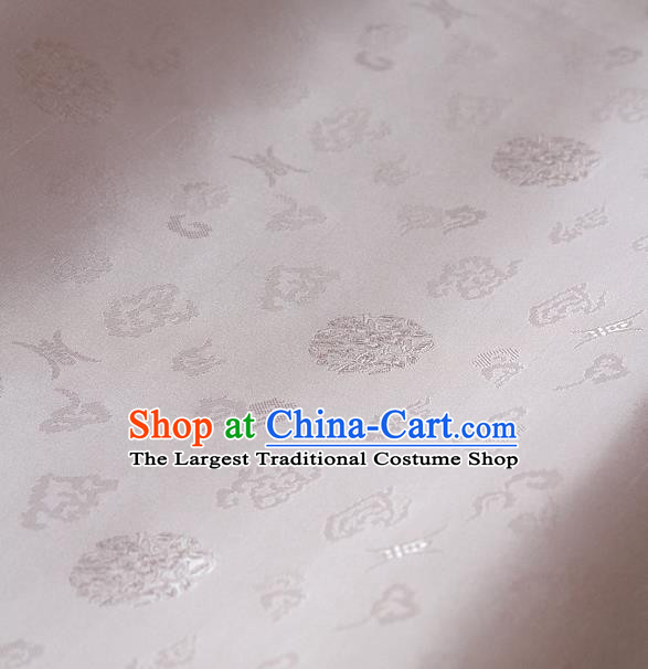 Traditional Asian White Brocade Drapery Korean Hanbok Palace Satin Silk Fabric