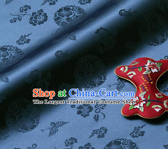 Traditional Asian Cloth Drapery Navy Brocade Korean Hanbok Palace Satin Silk Fabric