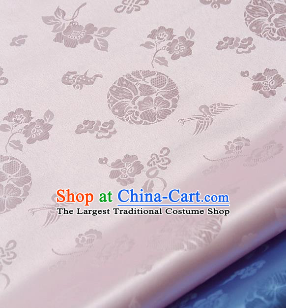 Traditional Asian Cloth Drapery Pink Brocade Korean Hanbok Palace Satin Silk Fabric