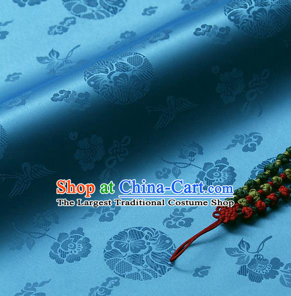Traditional Asian Cloth Drapery Blue Brocade Korean Hanbok Palace Satin Silk Fabric