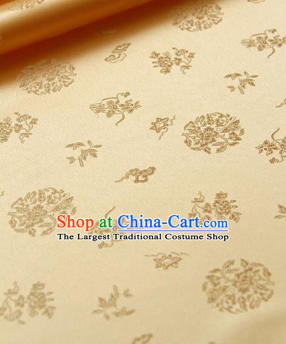 Traditional Asian Cloth Drapery Golden Brocade Korean Hanbok Palace Satin Silk Fabric