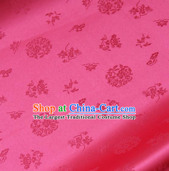 Traditional Asian Cloth Drapery Rosy Brocade Korean Hanbok Palace Satin Silk Fabric