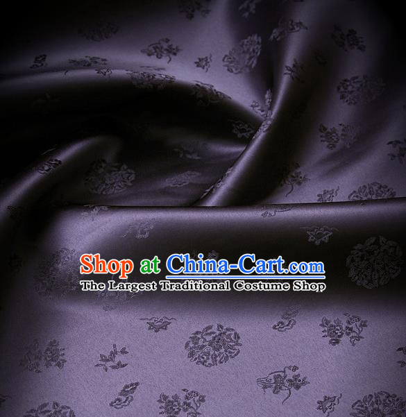 Traditional Asian Cloth Drapery Dark Purple Brocade Korean Hanbok Palace Satin Silk Fabric