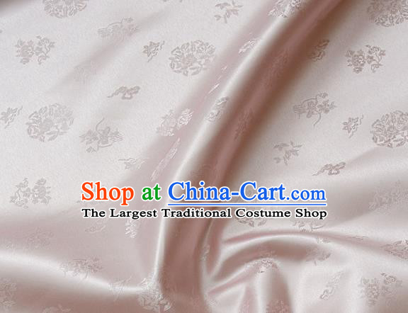 Traditional Asian Cloth Drapery Light Pink Brocade Korean Hanbok Palace Satin Silk Fabric