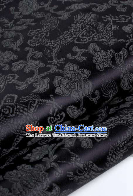 Chinese Traditional Black Brocade Fabric Tang Suit Classical Dragons Pattern Design Tang Suit Silk Material Satin Drapery