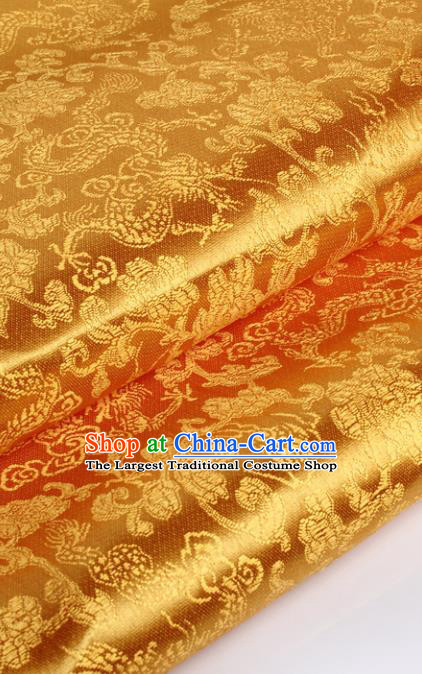 Chinese Traditional Golden Brocade Fabric Tang Suit Classical Dragons Pattern Design Tang Suit Silk Material Satin Drapery
