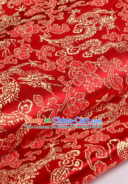 Chinese Traditional Red Brocade Fabric Tang Suit Classical Dragons Pattern Design Tang Suit Silk Material Satin Drapery