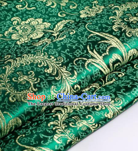 Chinese Traditional Green Brocade Fabric Tang Suit Classical Pteris Pattern Design Tang Suit Silk Material Satin Drapery