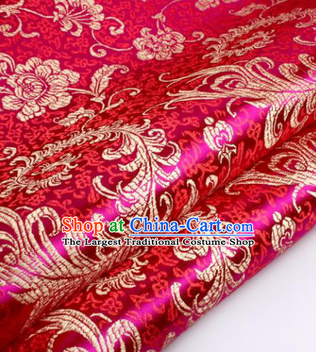Chinese Traditional Rosy Brocade Fabric Tang Suit Classical Pteris Pattern Design Tang Suit Silk Material Satin Drapery