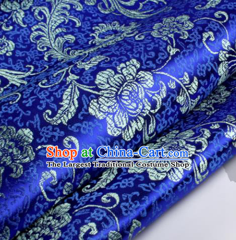 Chinese Traditional Royalblue Brocade Fabric Tang Suit Classical Pteris Pattern Design Tang Suit Silk Material Satin Drapery