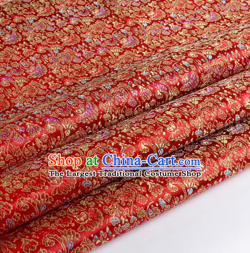 Chinese Traditional Red Brocade Fabric Tang Suit Classical Cockscomb Flower Pattern Design Tang Suit Silk Material Satin Drapery
