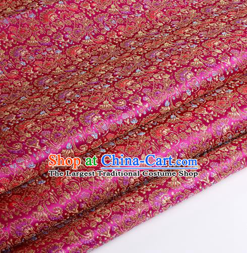 Chinese Traditional Rosy Brocade Fabric Tang Suit Classical Cockscomb Flower Pattern Design Tang Suit Silk Material Satin Drapery